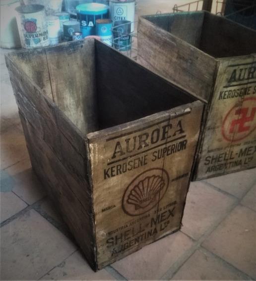 Cajón De Madera Aurora Kerosene Shell Mex Antiguo Rustico