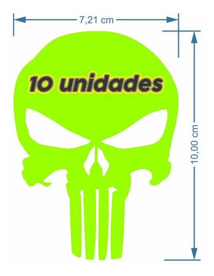 10 Adesivos Justiceiro The Punisher Vinil Neon Carro Moto