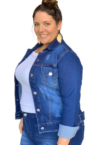 Blusa Jaqueta Jeans Casaco Plus Size Do 46 Ao 52 Com Lycra