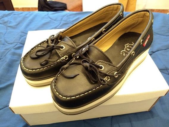 Mocasines Náuticos. Zapatos Mujer 35 Negros.chatitas. Cordón