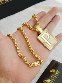 Cordao E Pingente Cadeado 6 Milímetros Banhado A Ouro 18k