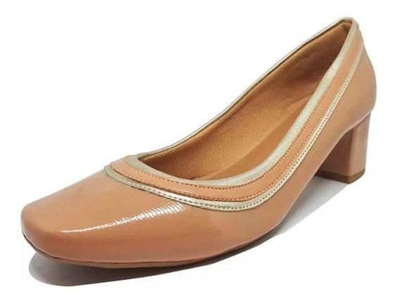 Sapato Salto Baixo Verniz Bico Quadrado Confortável Ref 151.