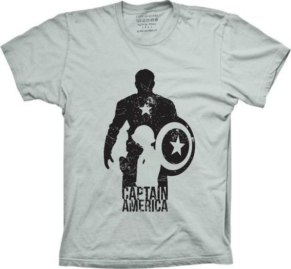 Camisetas 4fun - Silk Super Herói Capitão América Silhueta