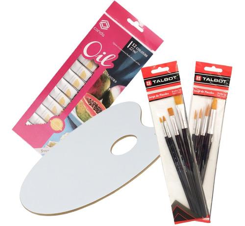 Kit Arte Oleo X 12 Con Paleta Mezcladora Y Set De Pinceles