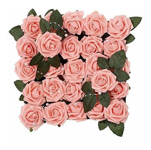 Meiliy - 60 Rosas Artificiales De Aspecto Real Con Tallo Par