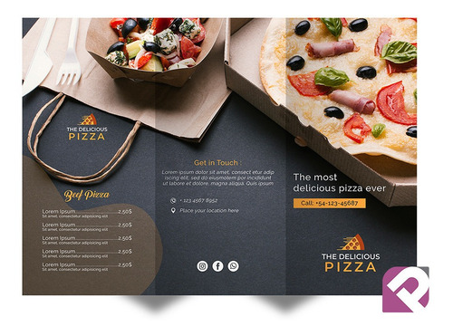 2500 Folheto Pizzaria Dobra Paralela 20x28cm Personalizado
