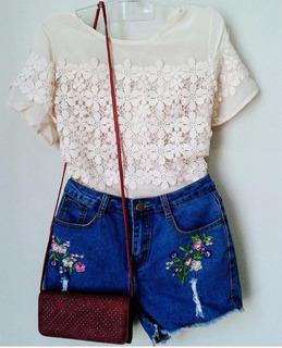 Blusa Feminina Camisa Chiffon E Renda Tule Transparente Moda