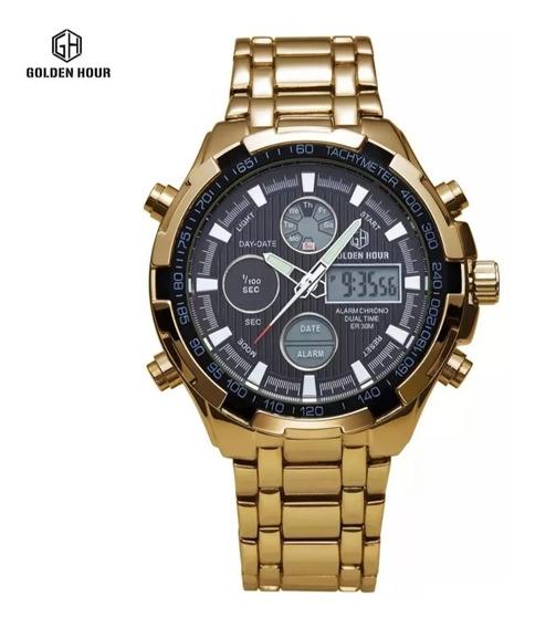 Relogio Golden Hour Dourado Importado Gh-108