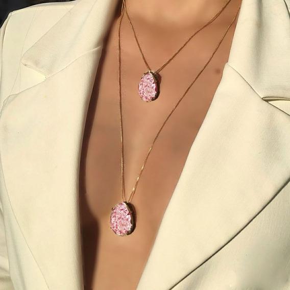 Colar Duplo Com Pedra Fusion Rosa Folheado A Ouro 18k
