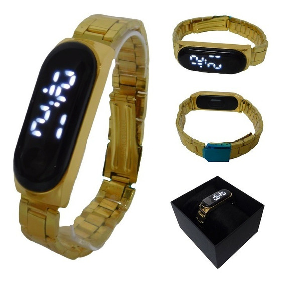 Relógio Feminino Masculino Led Digital Dourado Unissex Luxo