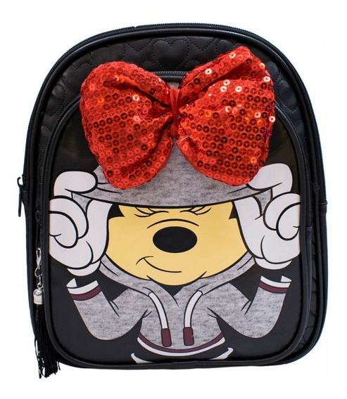 Mochila Minnie Mouse 3d Preta Laço Costas Disney