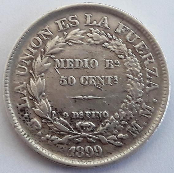 Bolivia Moneda De Plata Del Año 1899 - 1/2 Boliviano 50 Ctvs