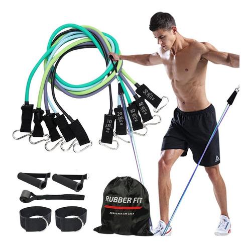 Imagem 1 de 7 de Kit Elástico Para Treino Exercícios Malhar Musculação Casa