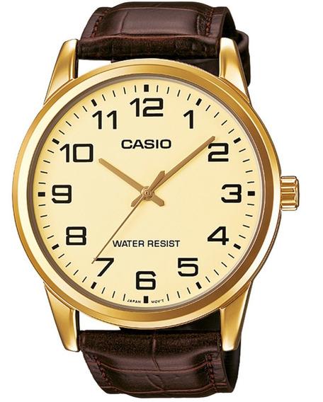 Relógio Casio Masculino Mtp-v001gl-9budf Couro Marrom