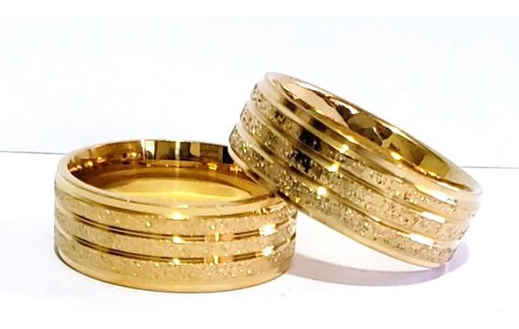 Par De Alianças Cor Ouro 18k 8mm Casamento Moedas Antigas