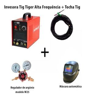 Máquina De Solda Tig Tiger 205+tocha Tig +mascara Auto+regu