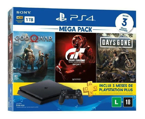 Ps4 1tb C/ 3 Jogos Slim Bundle Original Sony Com Nf