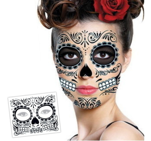 ¡ Tatuaje Temporal Flowers Glitter Catrina Day Of Dead !!