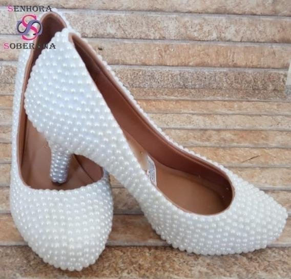 Sapato Meia Pata Perolas Branco Cinderela Glamour(noivas)