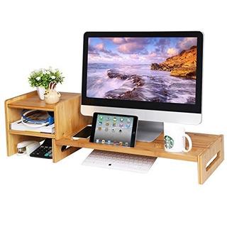Songmics Bamboo Monitor Stand Riser Laptop Teléfono Celular