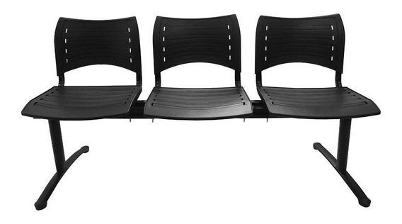 Cadeira Longarina 3 Lugares Preta Evidence Executiva