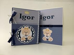 Álbum Livro Bebê Cx Nome Do Seu Bebê Urso Principe Marinho