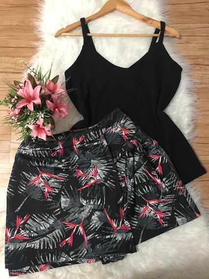 Conjunto Plus Size De Short-saia Estampado E Blusinha Lisa