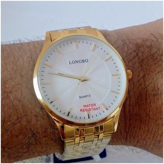 Relógio Masculino Dourado Longbo Quartz 80266g Slim Original Vip Frete Gratis 12x S/juros