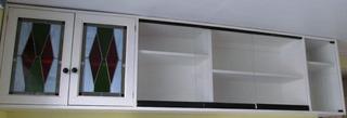 Librero Pared Madera Maciza Y Puertas Vidrio Usado Ver Fotos