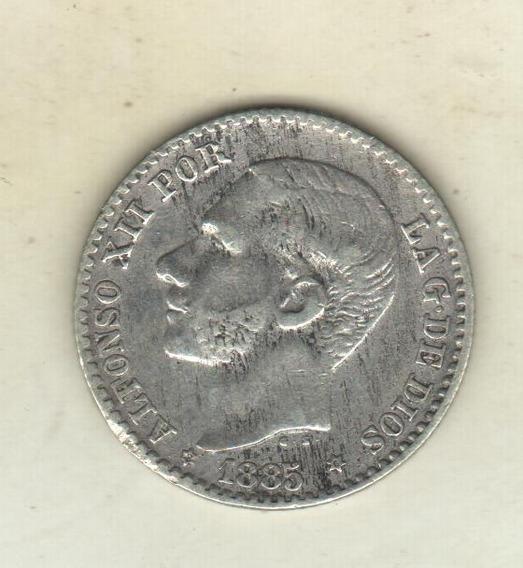 España Alfonso 12 - 50 Céntimos Plata 1885 (86) Ms-m Km 685