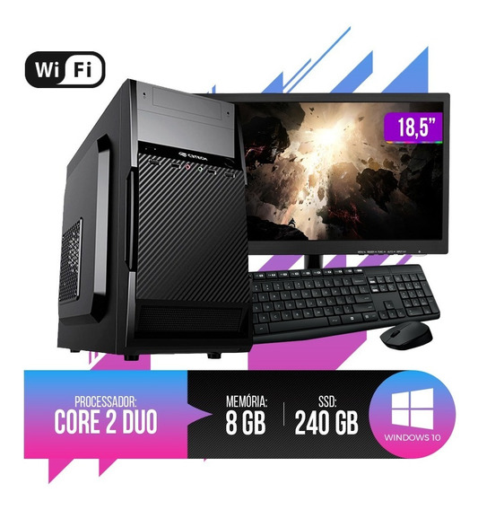 Pc Completo Intel Core 2 Duo,8gb Ram Ddr3, Hd Ssd 240gb