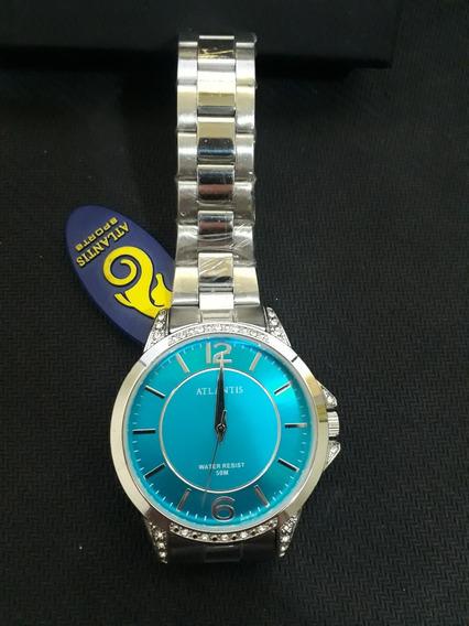Relogio Atlantis Feminino G3478 Prata Fundo Azul