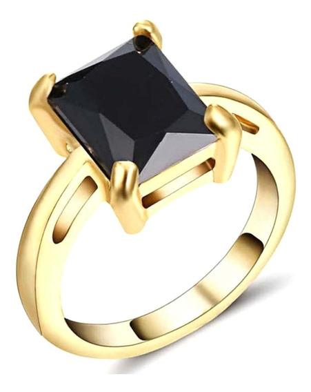 Anel Banhado Ouro Feminino Cristal Ônix Preto Dia Moda 279 I