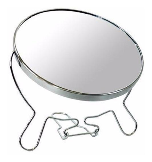 Espelho De Mesa Dupla Face P/ Ótica Aumento Até 5x Cromado