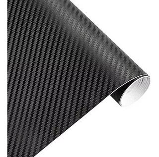 Rollo Vinil Autoaderible Fibra De Carbono Impermeable Negro