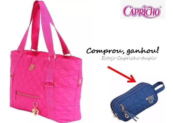Bolsa Tote Capricho Love Vii Pink 48907 + Brinde Estojo Dupl