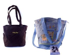 Kit Maternidade Com 2 Bolsas De Bebê Azul E Marrom B5827