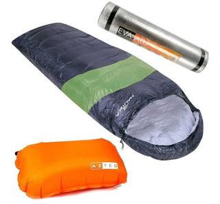 Saco Dormir Viper 5º 12ºc + Travesseiro Azteq + Isolante