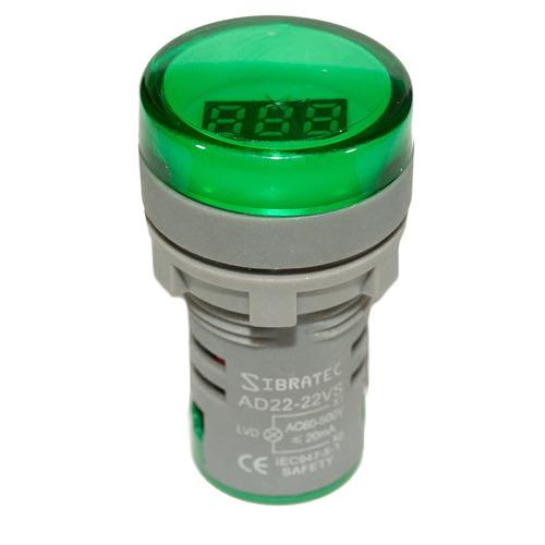 Imagem 1 de 4 de Kit 3 Sinaleiros Led Voltimetro Digital Verde 60-500vca 22mm