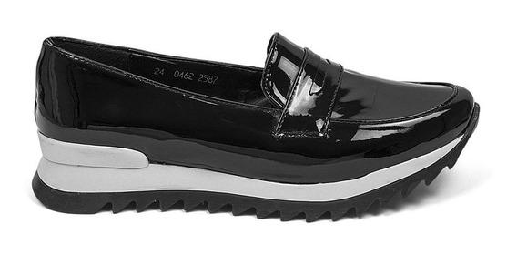 Zapatos Flats Dama Charol Deportivo Negro 8313