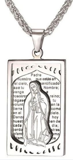 Gargantilha Virgem Maria Cordão Corrente Prata