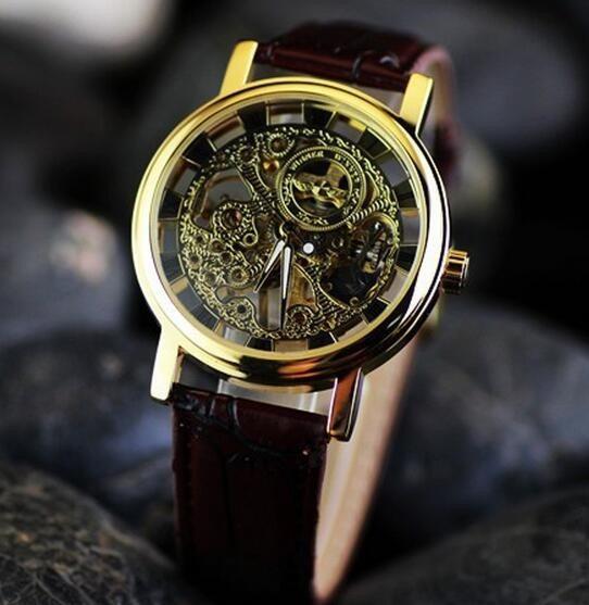 Esqueleto Vencedor Relógio Mecânico Homem Relógio De Pulso D