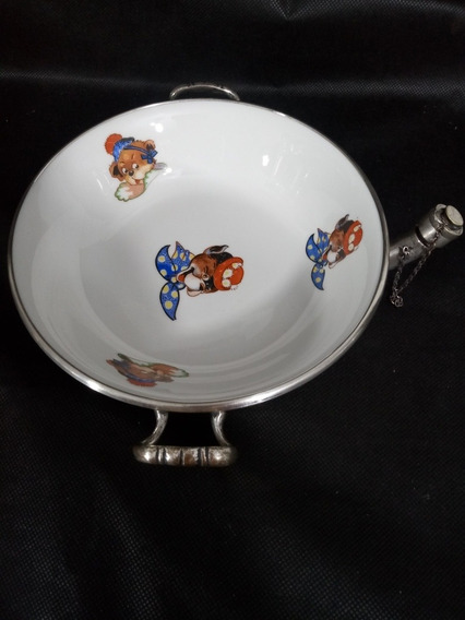 Prato Infantil Térmico Porcelana Antigo Com Base Metal