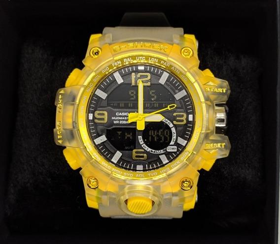 Relógio G-shock Transparente Com Amarelo