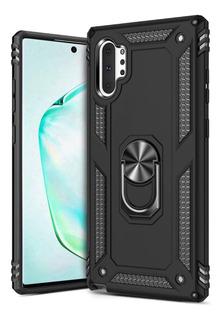 Carcasa Galaxy Note 10+ Plus Ring Kickstand Heavy Duty Negro
