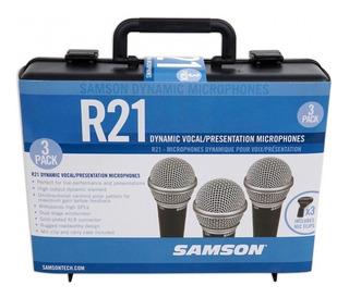 Samson R21 - Microfono Dinámico Pack X3 + Estuche Plastico