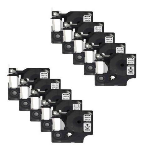 Imagen 1 de 5 de 10pk Para D1 Dymo Labelmanager 350 350d Negro En Marca Blanc