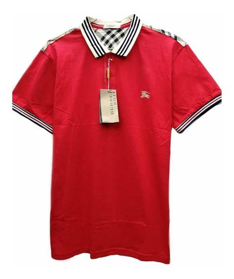 Playera Tipo Polo Burberry Cuello A Rayas Color Rojo