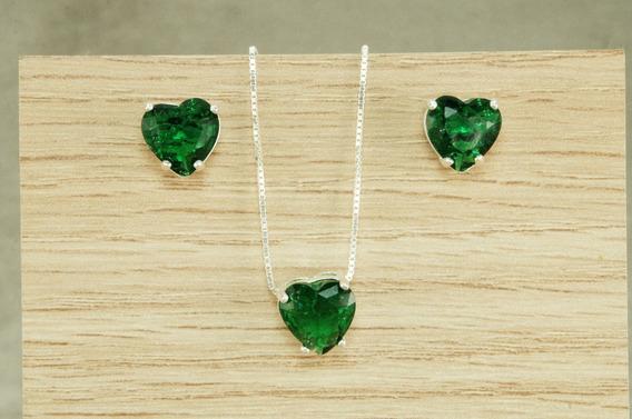Conjunto Colar Brinco Coração Pedra Fusion Verde Prata 925