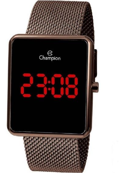 Relógio Champion Digital Led Lcd Ch40080r Chocolate